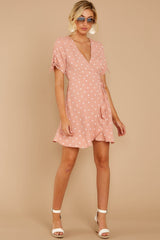 4 Touch Of Luck Blush Pink Polka Dot Wrap Dress at reddressboutique.com