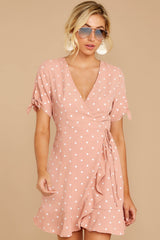 5 Touch Of Luck Blush Pink Polka Dot Wrap Dress at reddressboutique.com