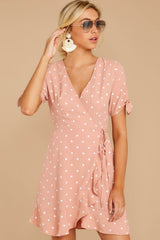 6 Touch Of Luck Blush Pink Polka Dot Wrap Dress at reddressboutique.com