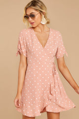 1 Touch Of Luck Blush Pink Polka Dot Wrap Dress at reddressboutique.com