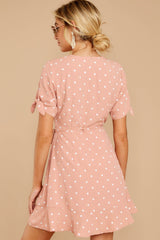 7 Touch Of Luck Blush Pink Polka Dot Wrap Dress at reddressboutique.com
