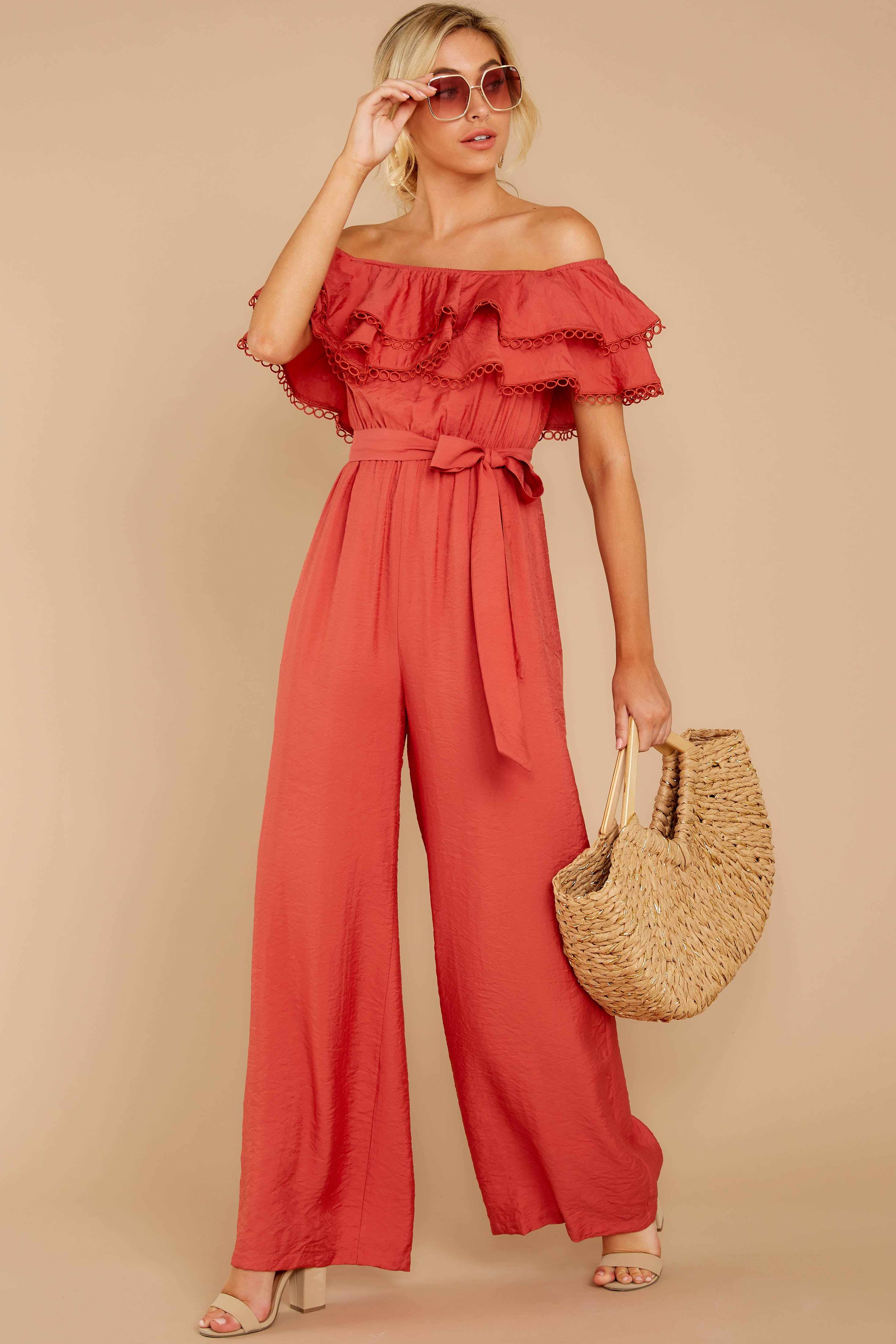5 Meeting In Paris Poppy Red Off The Shoulder Jumpsuit at reddressboutique.com