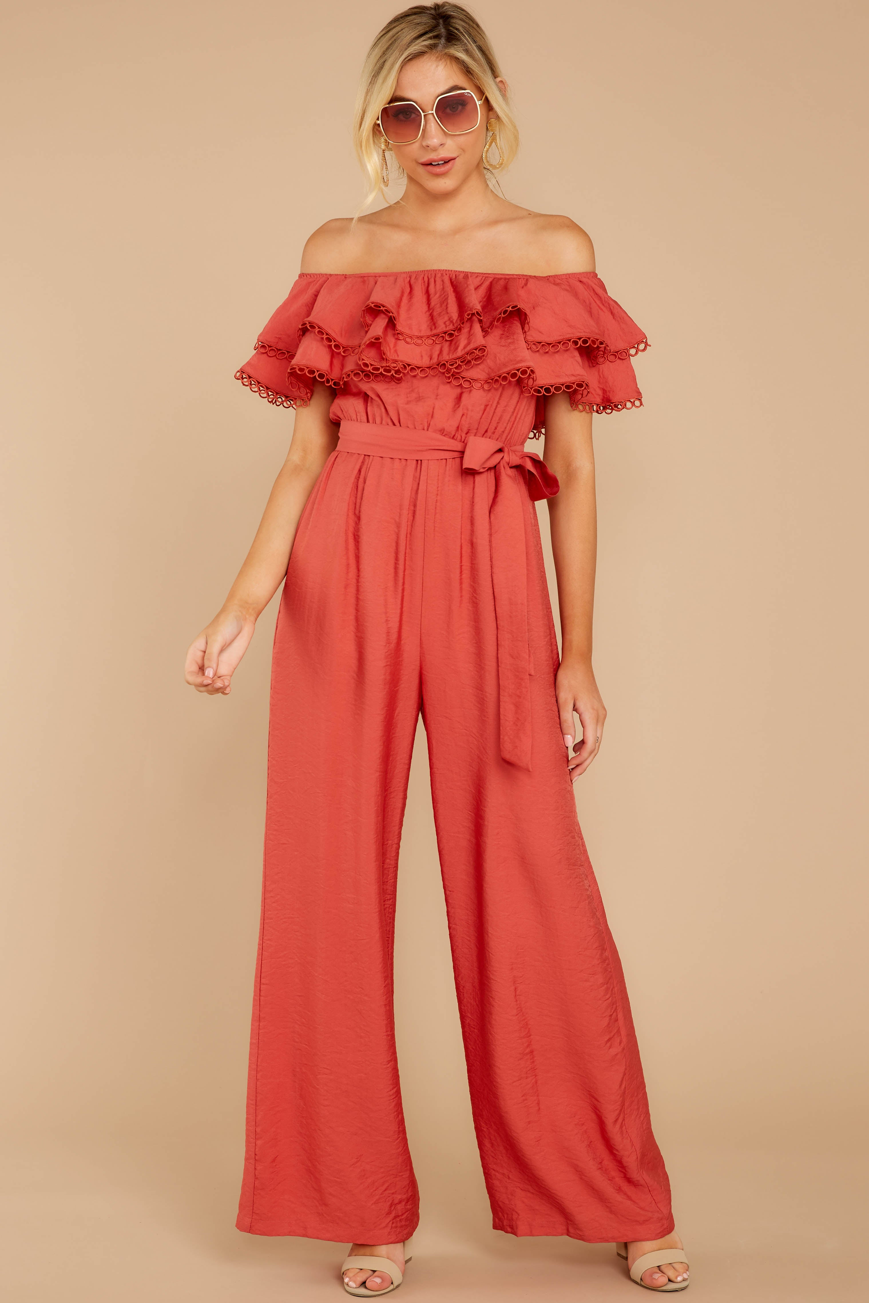 7 Meeting In Paris Poppy Red Off The Shoulder Jumpsuit at reddressboutique.com