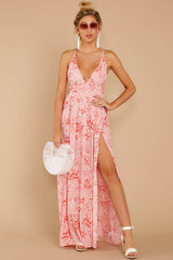 2 Sounds About Right Pink Floral Print Maxi Dress at reddressboutique.com