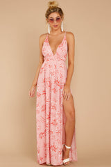 4 Sounds About Right Pink Floral Print Maxi Dress at reddressboutique.com