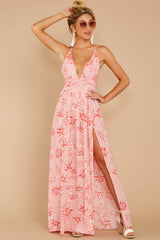 5 Sounds About Right Pink Floral Print Maxi Dress at reddressboutique.com