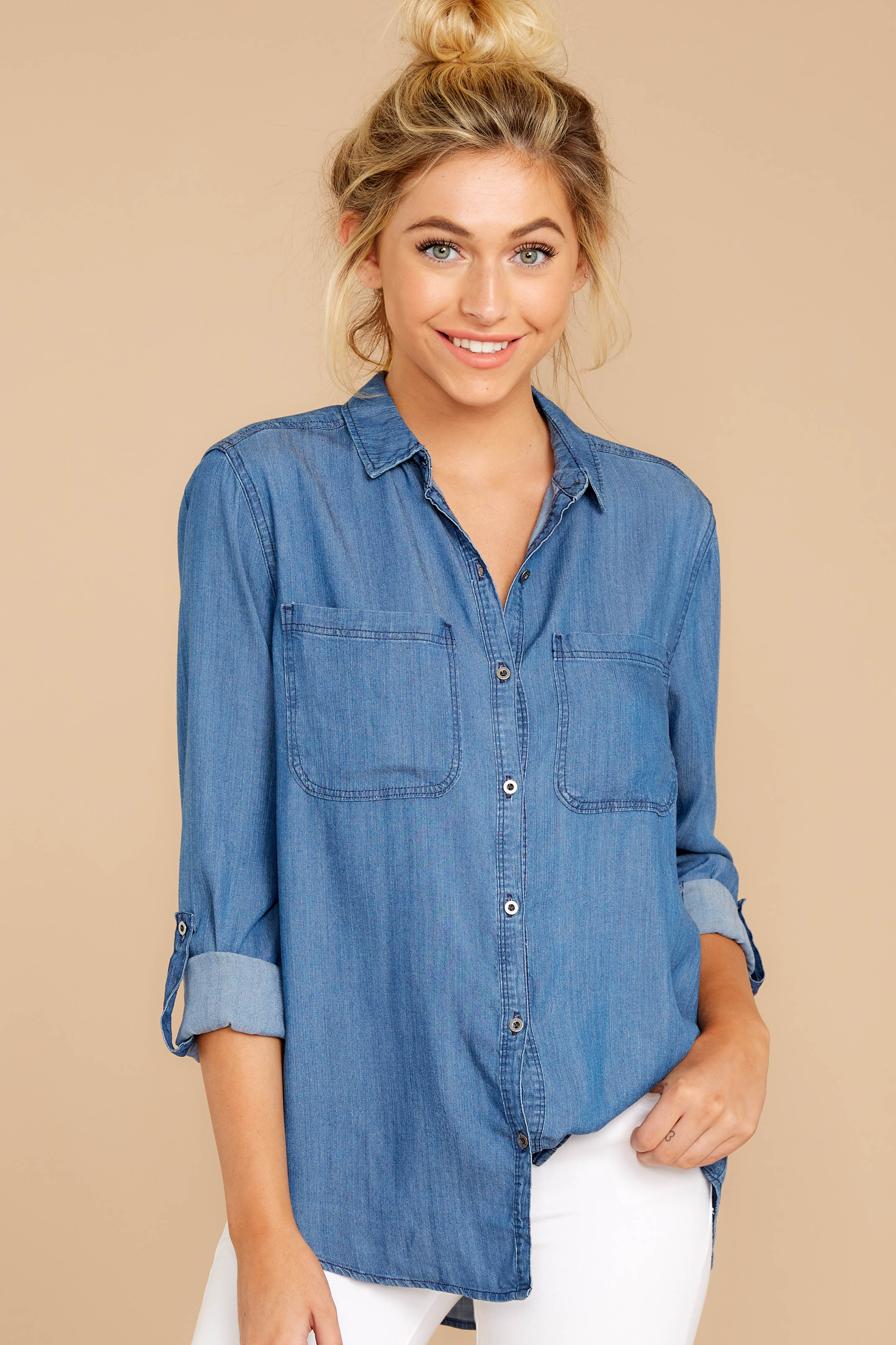 1 Wander Free Chambray Button Up Top at reddress.com