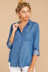 3 Wander Free Chambray Button Up Top at reddress.com