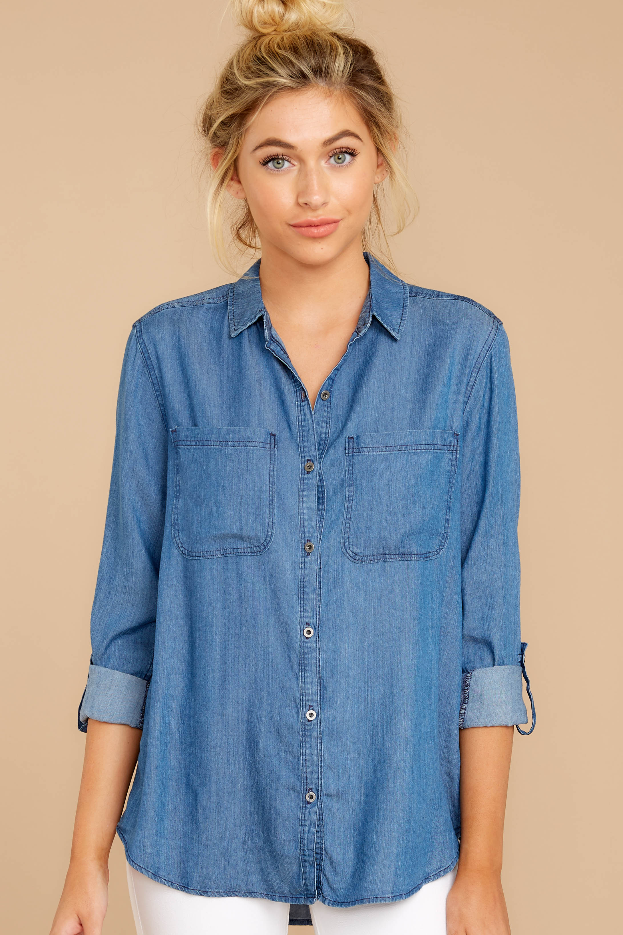 2 Wander Free Chambray Button Up Top at reddress.com