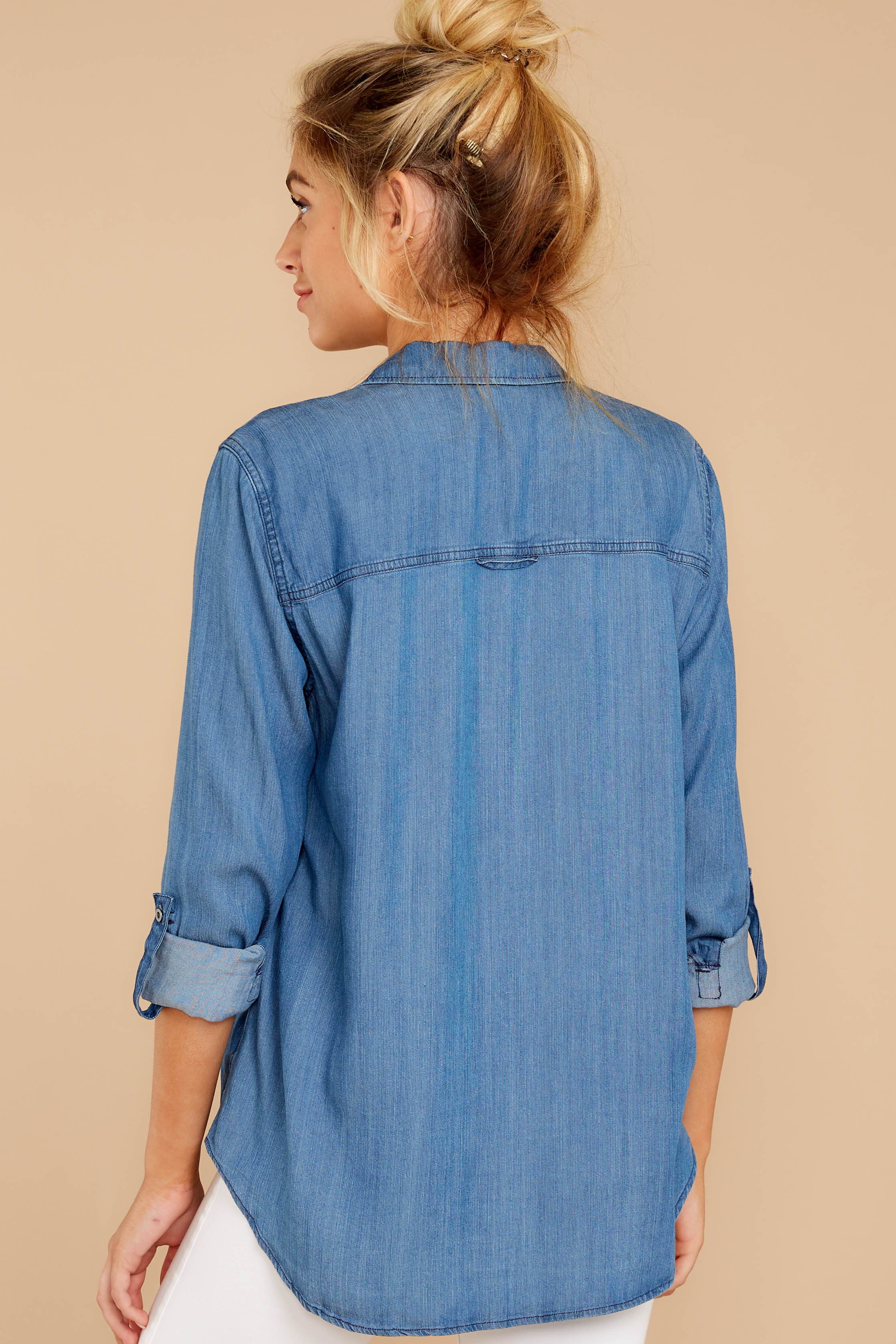 4 Wander Free Chambray Button Up Top at reddress.com