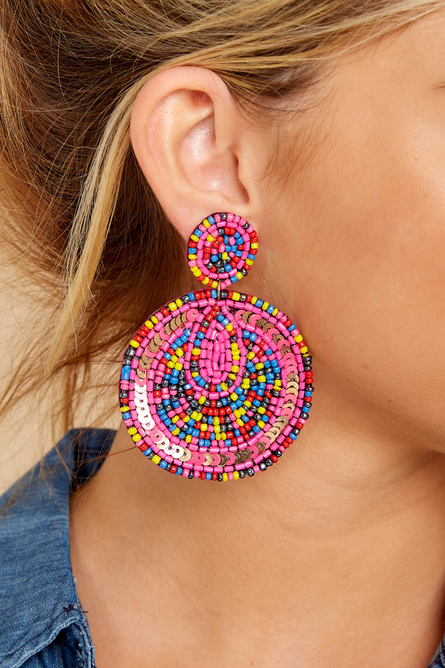 1 Festive Foray Pink Multi Beaded Earrings at reddressboutique.com