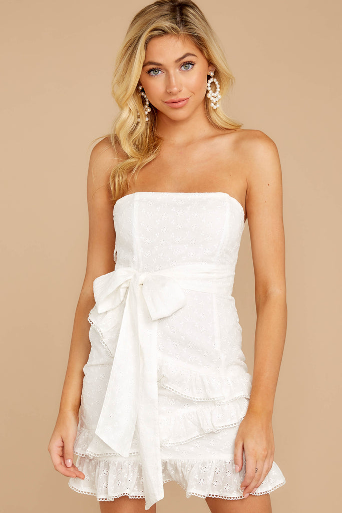 7 Stay Or Go White Dress at reddressboutique.com