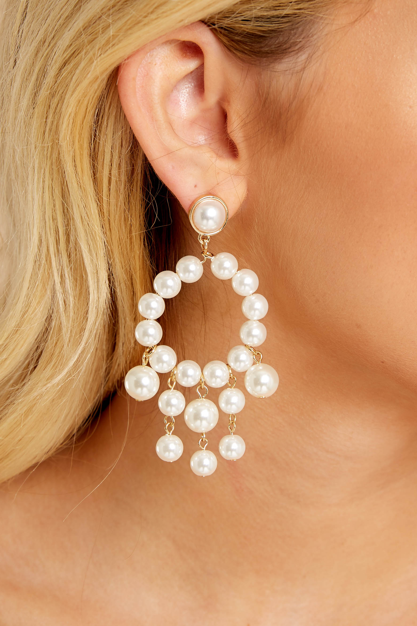 4 For The Glamorous Pearl Beaded Earrings at reddressboutique.com