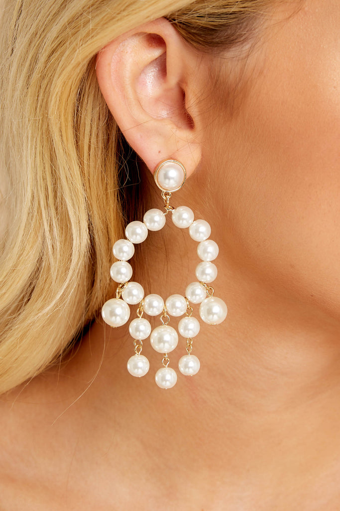 1 Around This Time White Earrings at reddressboutique.com