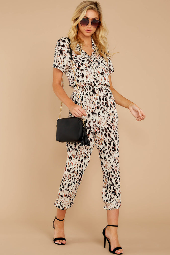 1 Shop Sassy Cream Print Midi Jumpsuit at reddressboutique.com