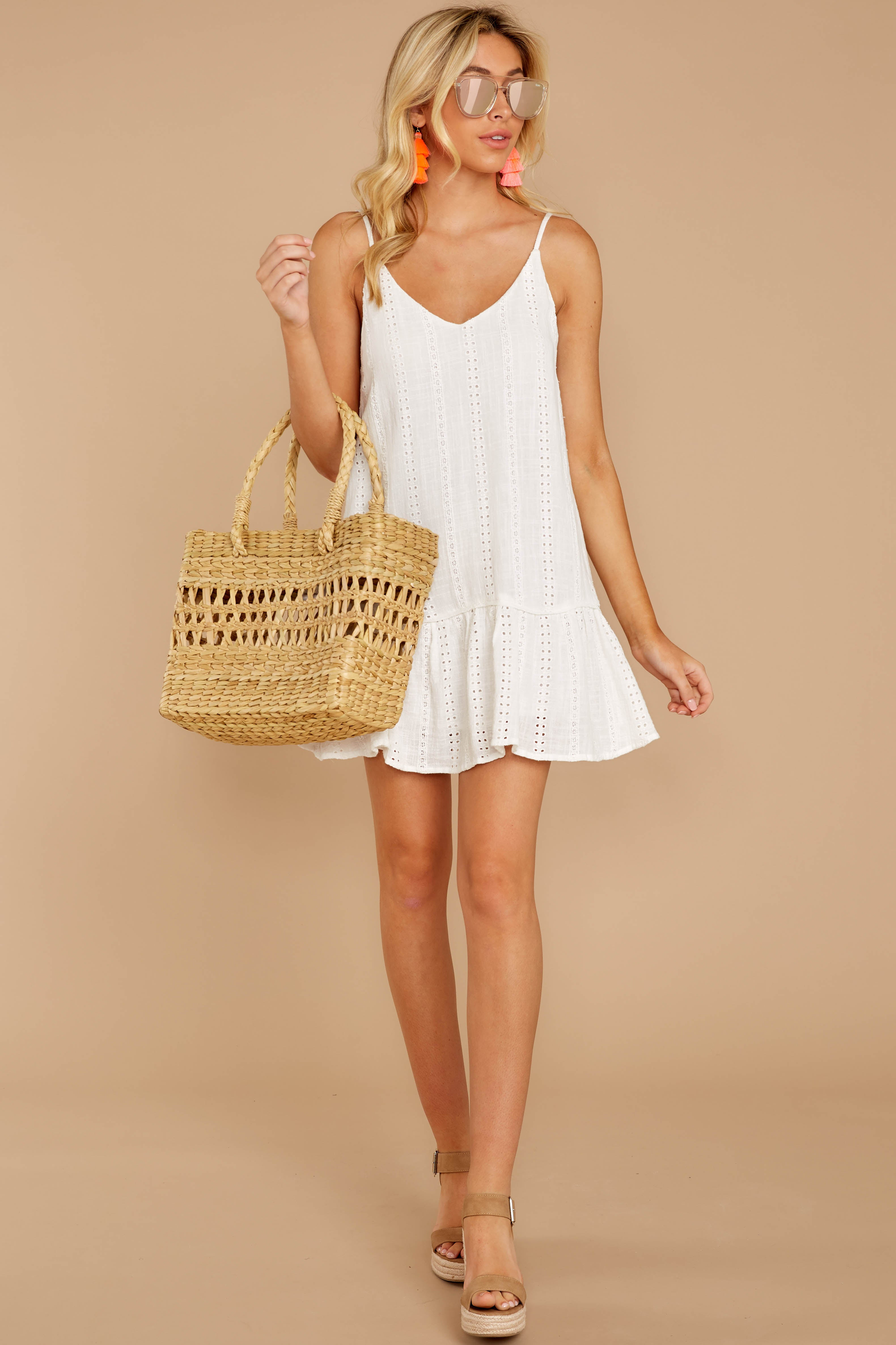 3 Holding Peace White Eyelet Dress at reddressboutique.com