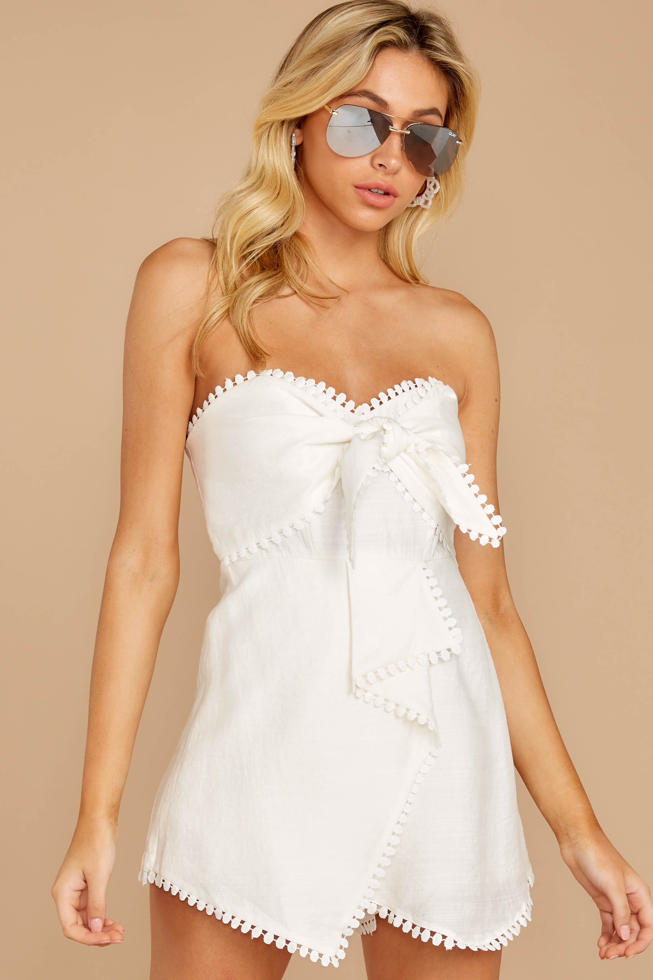 5 No Objections White Romper at reddressboutique.com