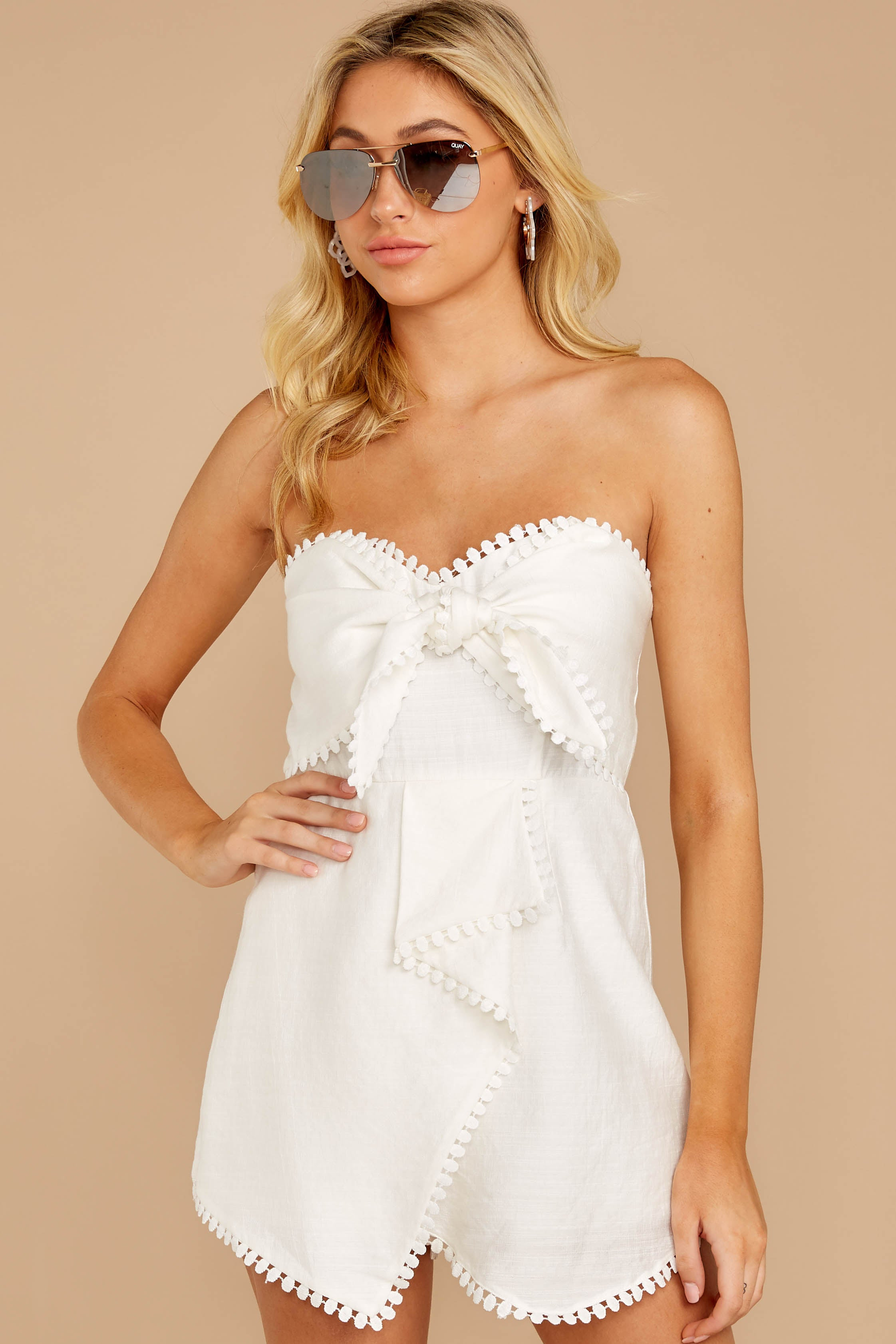 1 No Objections White Romper at reddressboutique.com