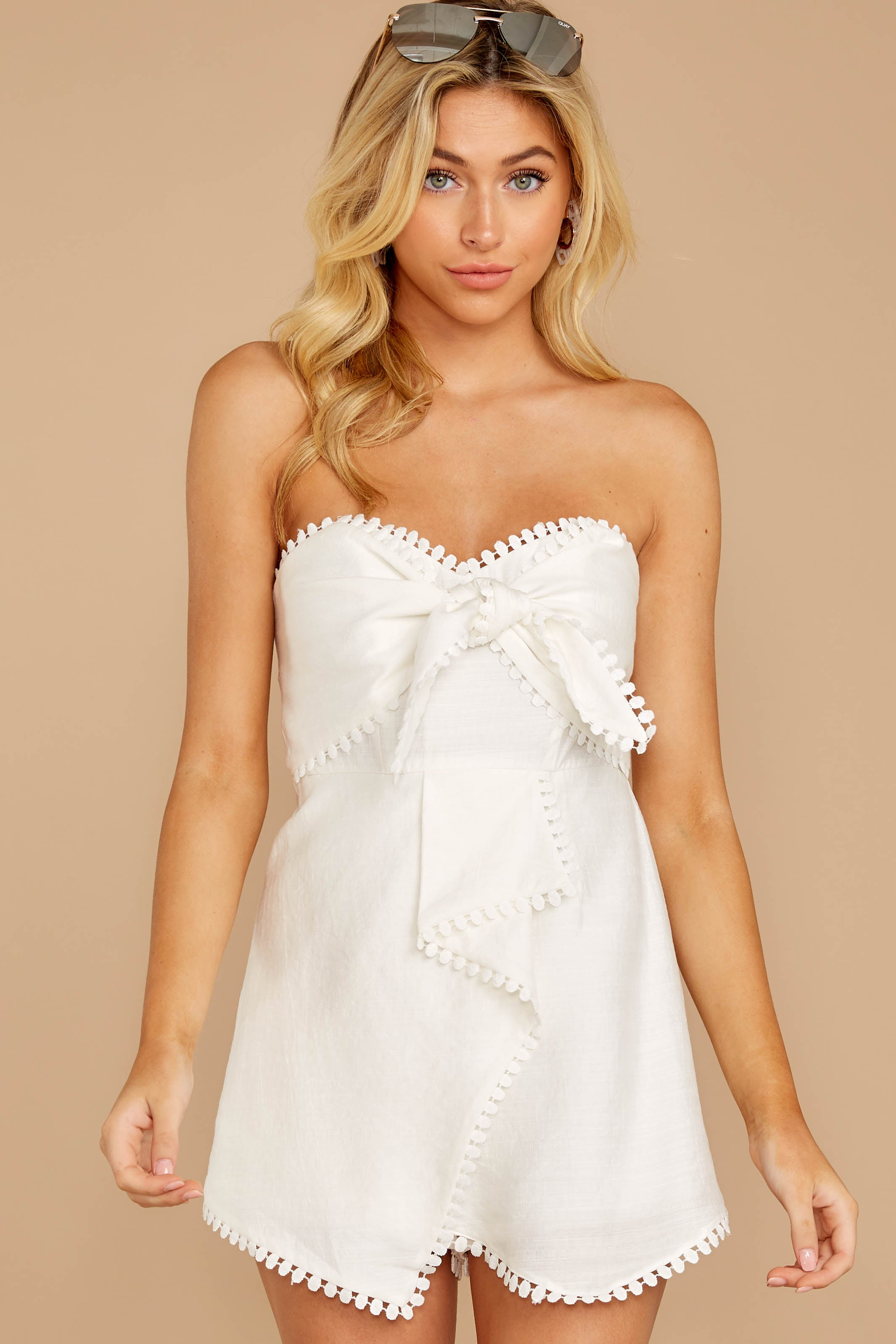 6 No Objections White Romper at reddressboutique.com