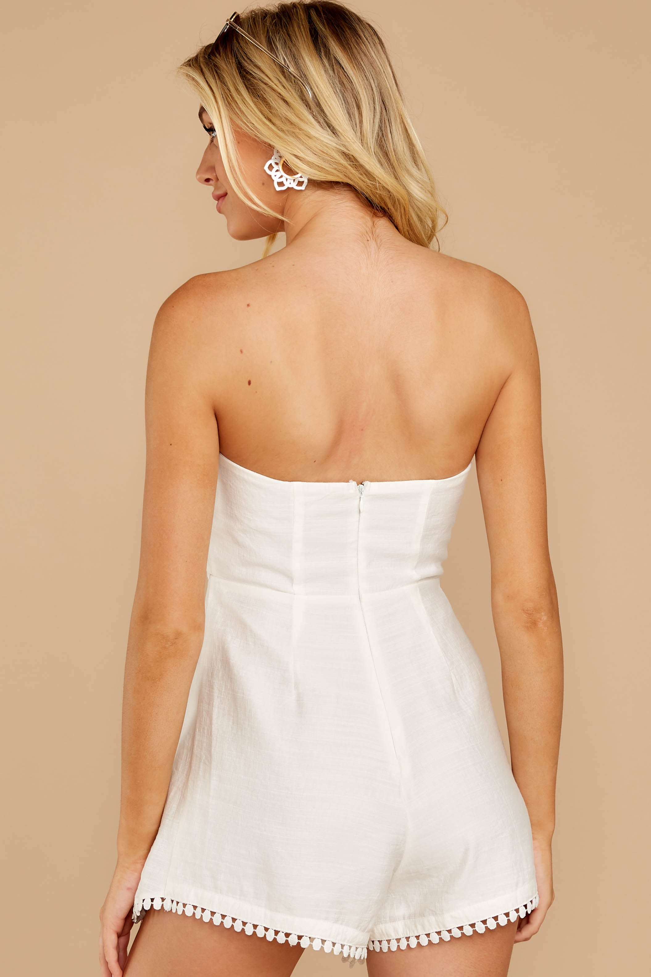 7 No Objections White Romper at reddressboutique.com