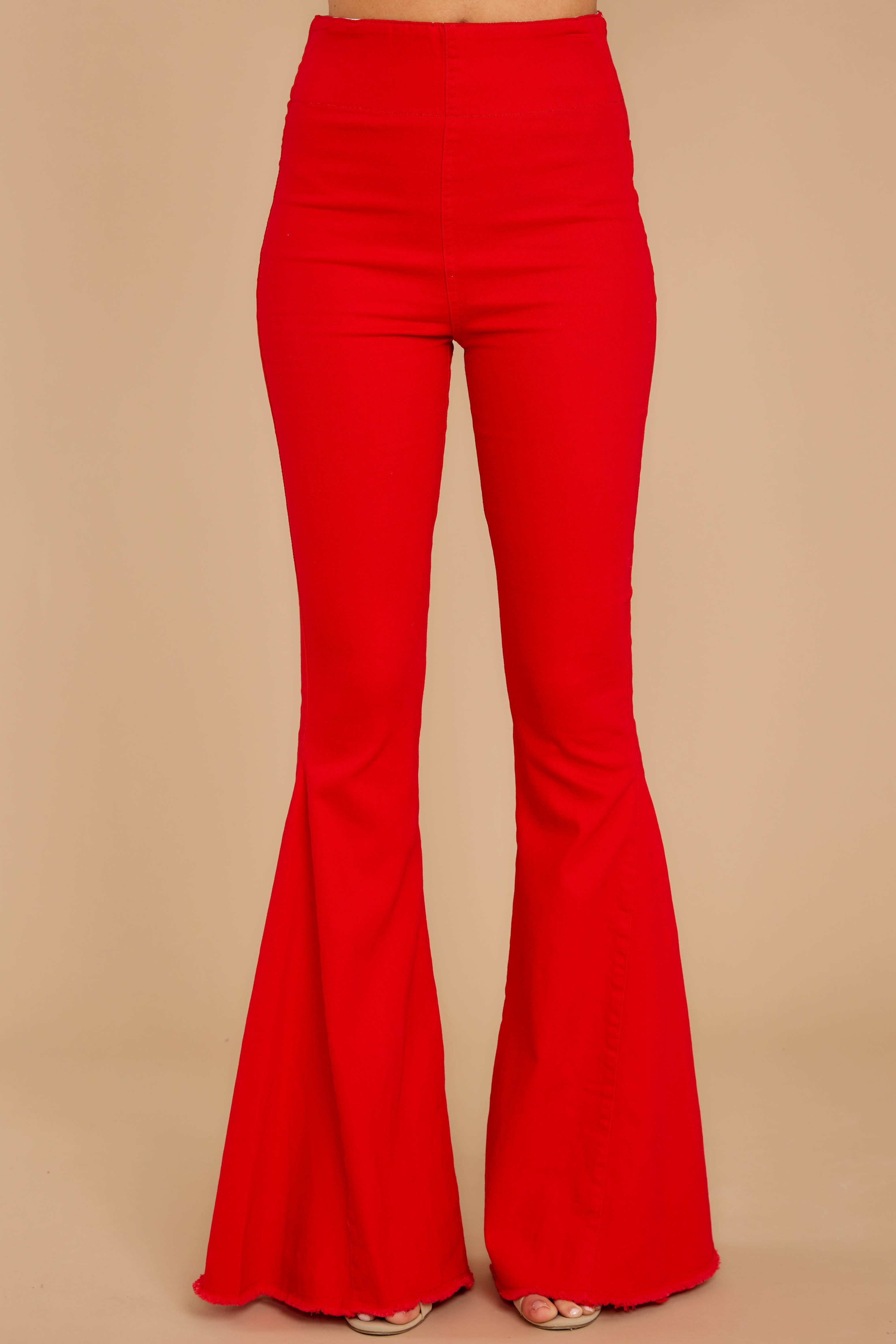 2 Diggin' These Red Flare Jeans at reddressboutique.com