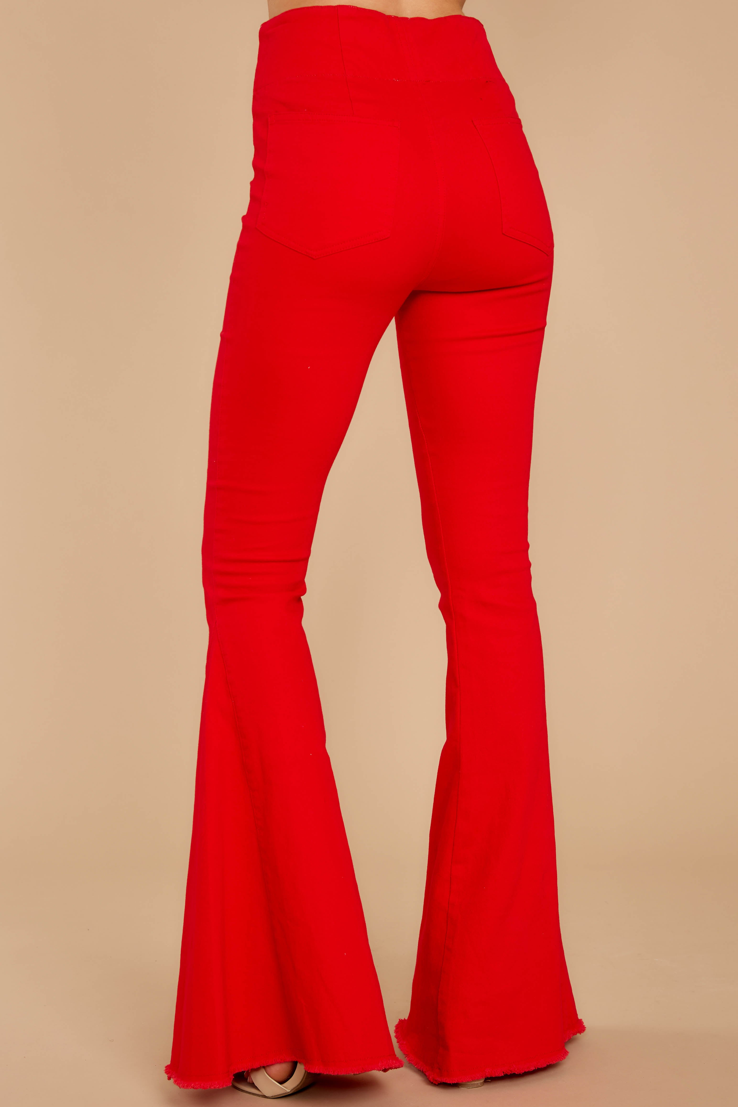 3 Diggin' These Red Flare Jeans at reddressboutique.com
