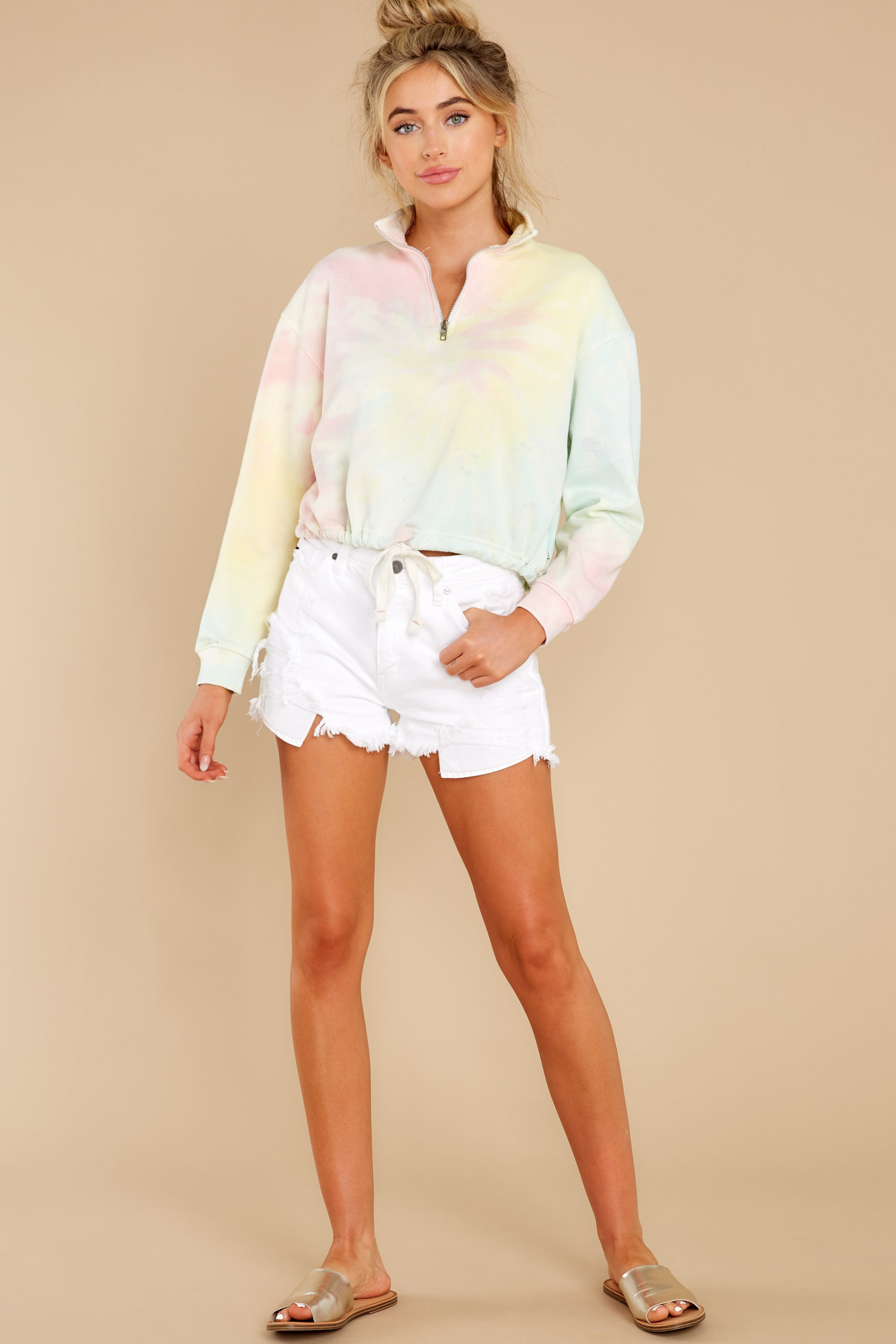 5 Let's Be Real Daybreak Tie Dye Crop Pullover at reddress.com