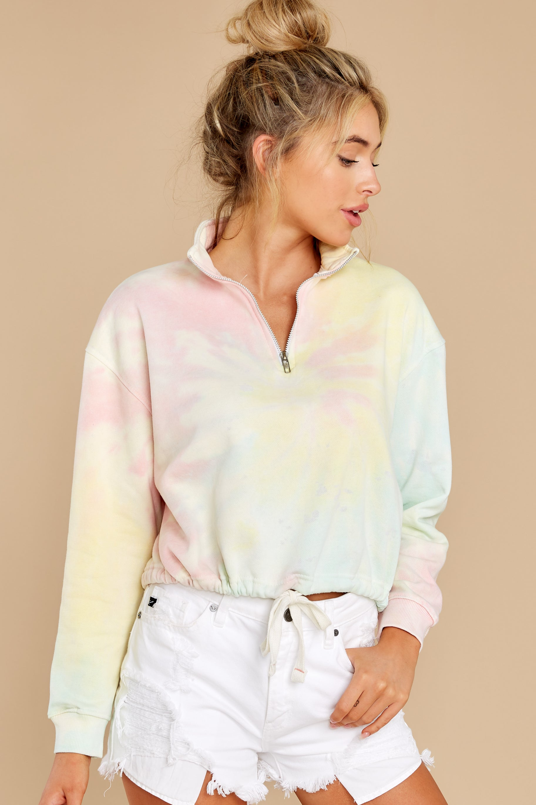 7 Let's Be Real Daybreak Tie Dye Crop Pullover at reddress.com