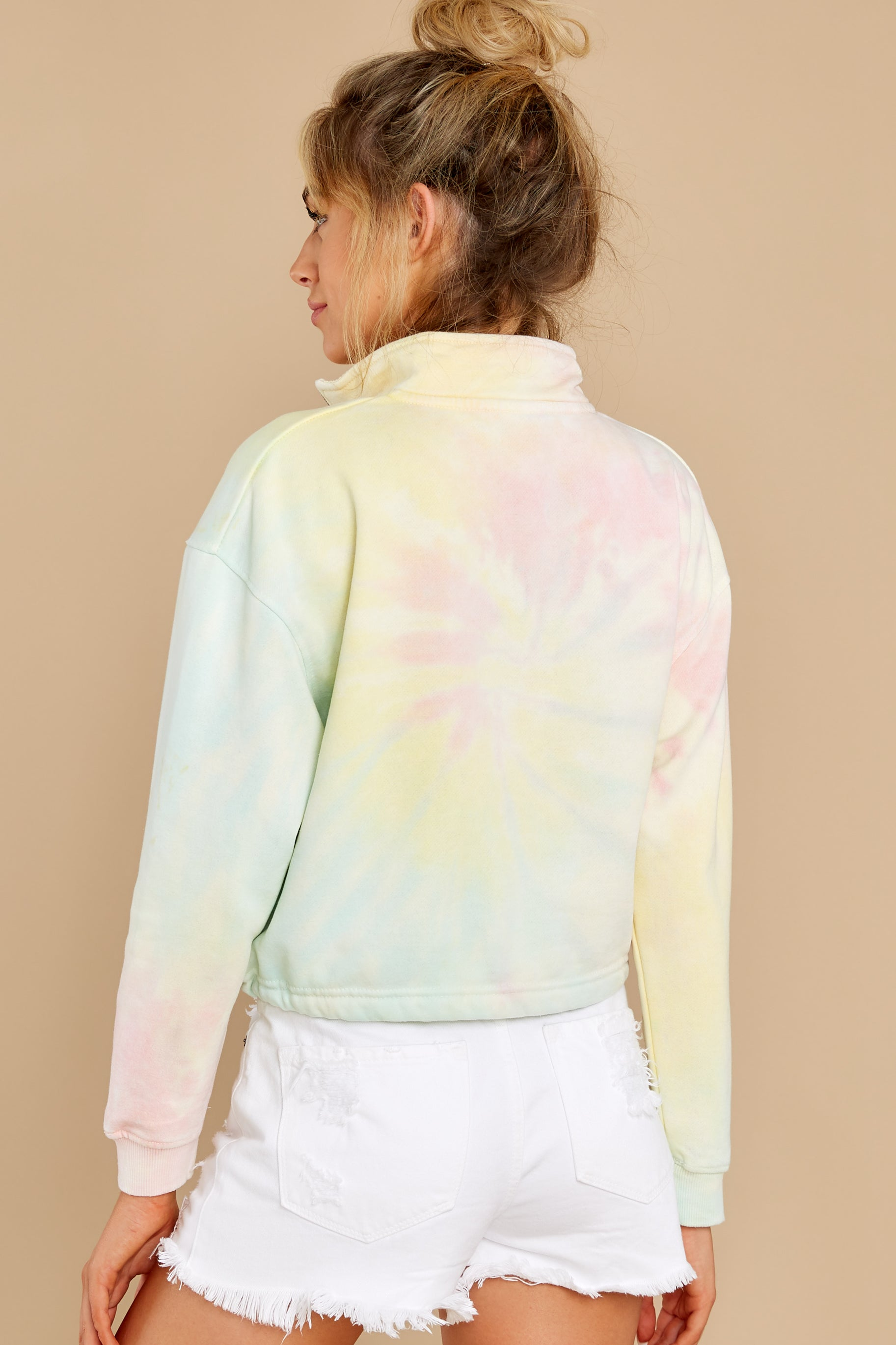 8 Let's Be Real Daybreak Tie Dye Crop Pullover at reddress.com