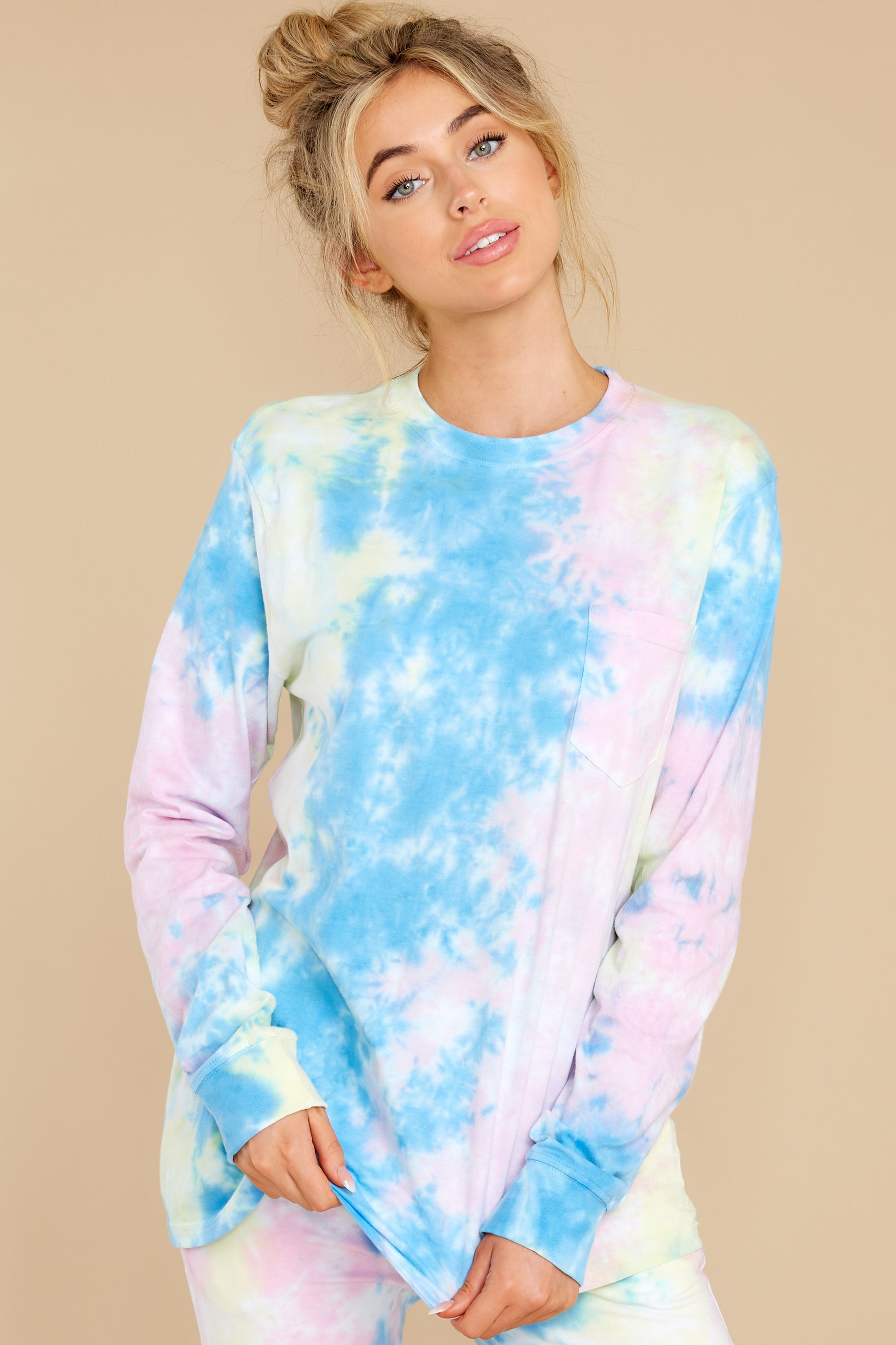 6 Summer In Sav Pastel Pink Tie Dye Top at reddress.com