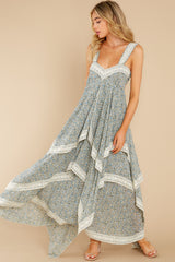 4 Fall In Love Sage Green Floral Print Maxi Dress at reddress.com