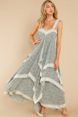 5 Fall In Love Sage Green Floral Print Maxi Dress at reddress.com