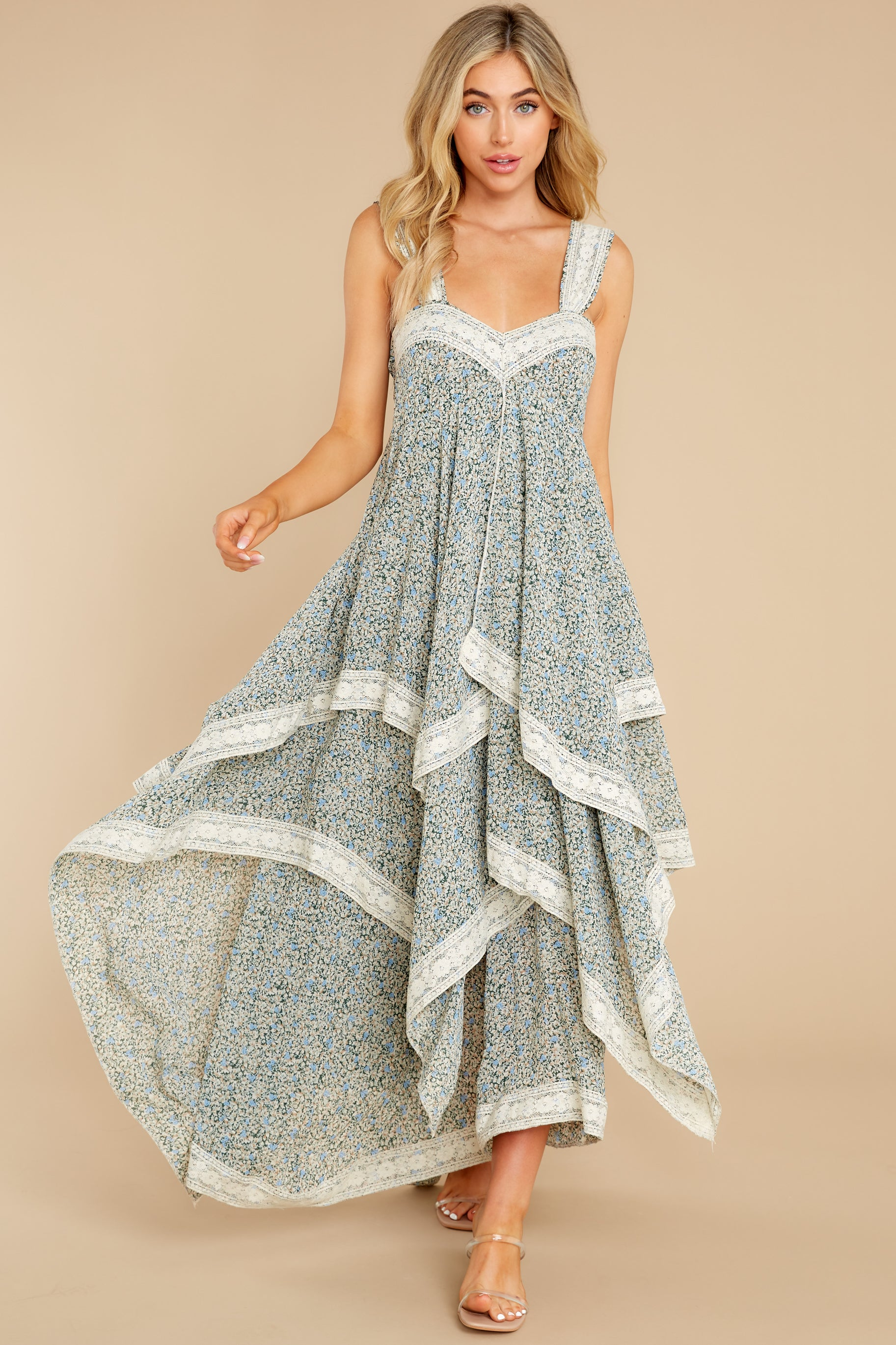 6 Fall In Love Sage Green Floral Print Maxi Dress at reddress.com