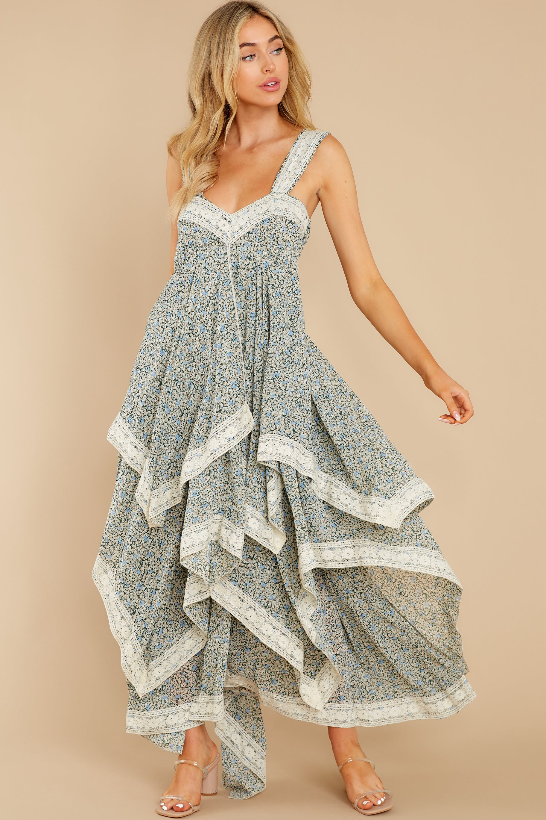 1 Fall In Love Sage Green Floral Print Maxi Dress at reddress.com