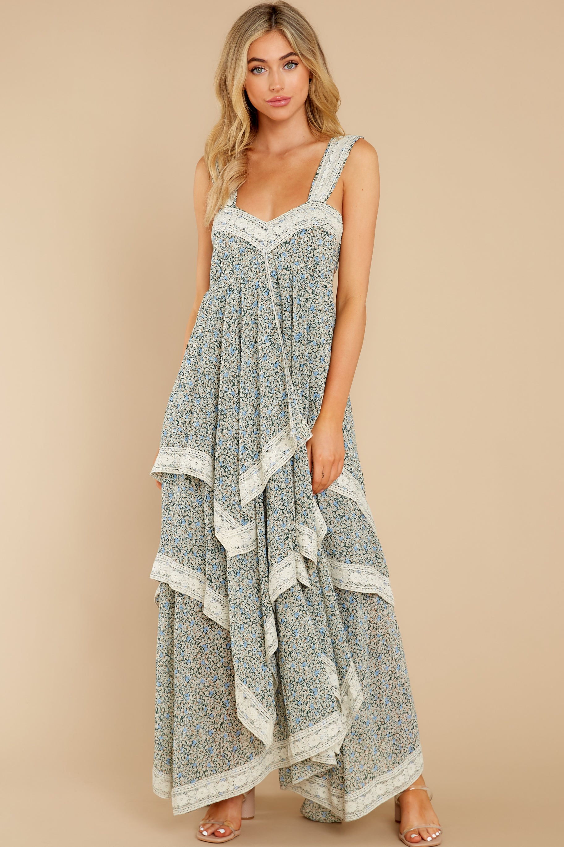 2 Fall In Love Sage Green Floral Print Maxi Dress at reddress.com
