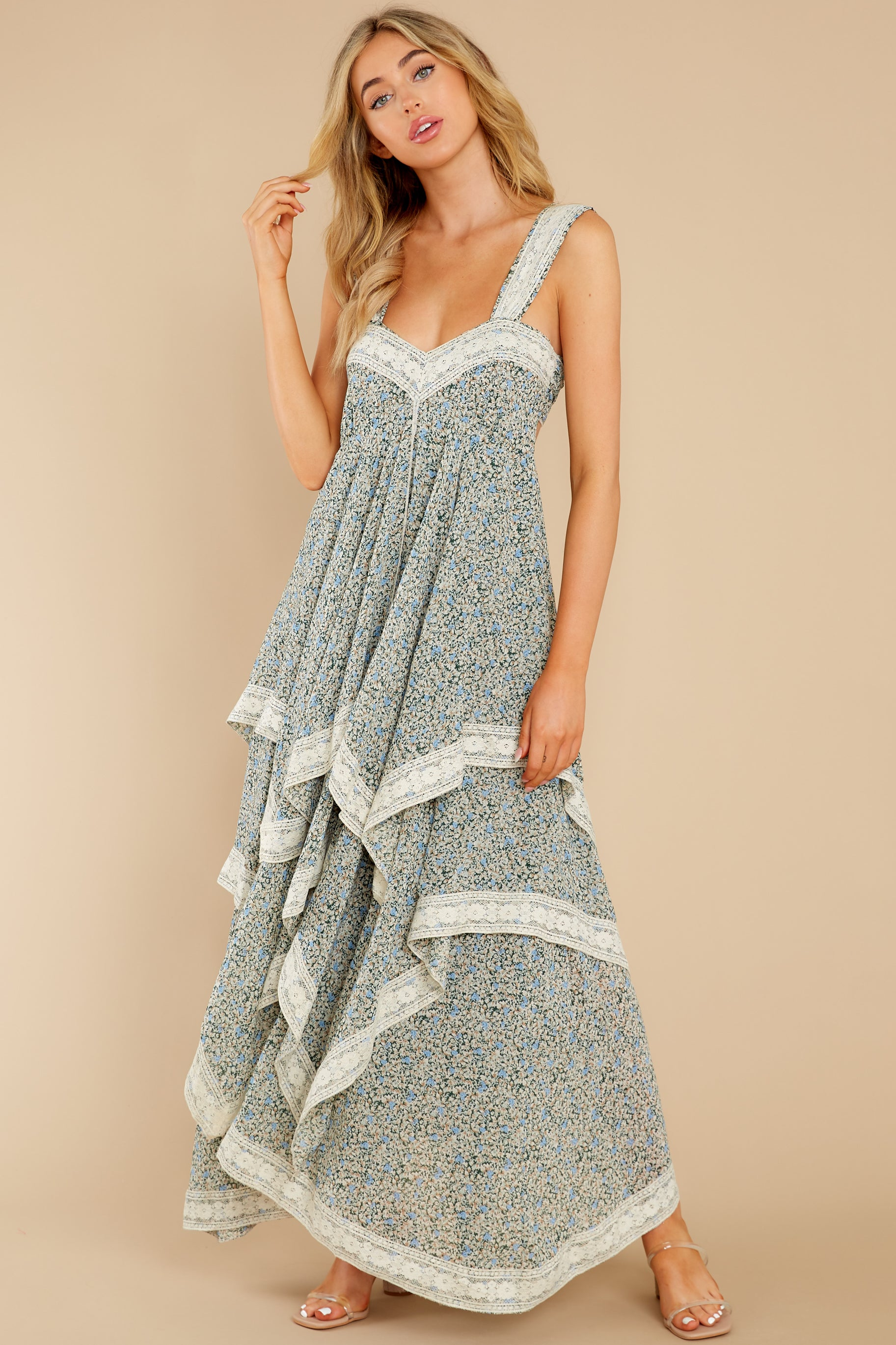 3 Fall In Love Sage Green Floral Print Maxi Dress at reddress.com