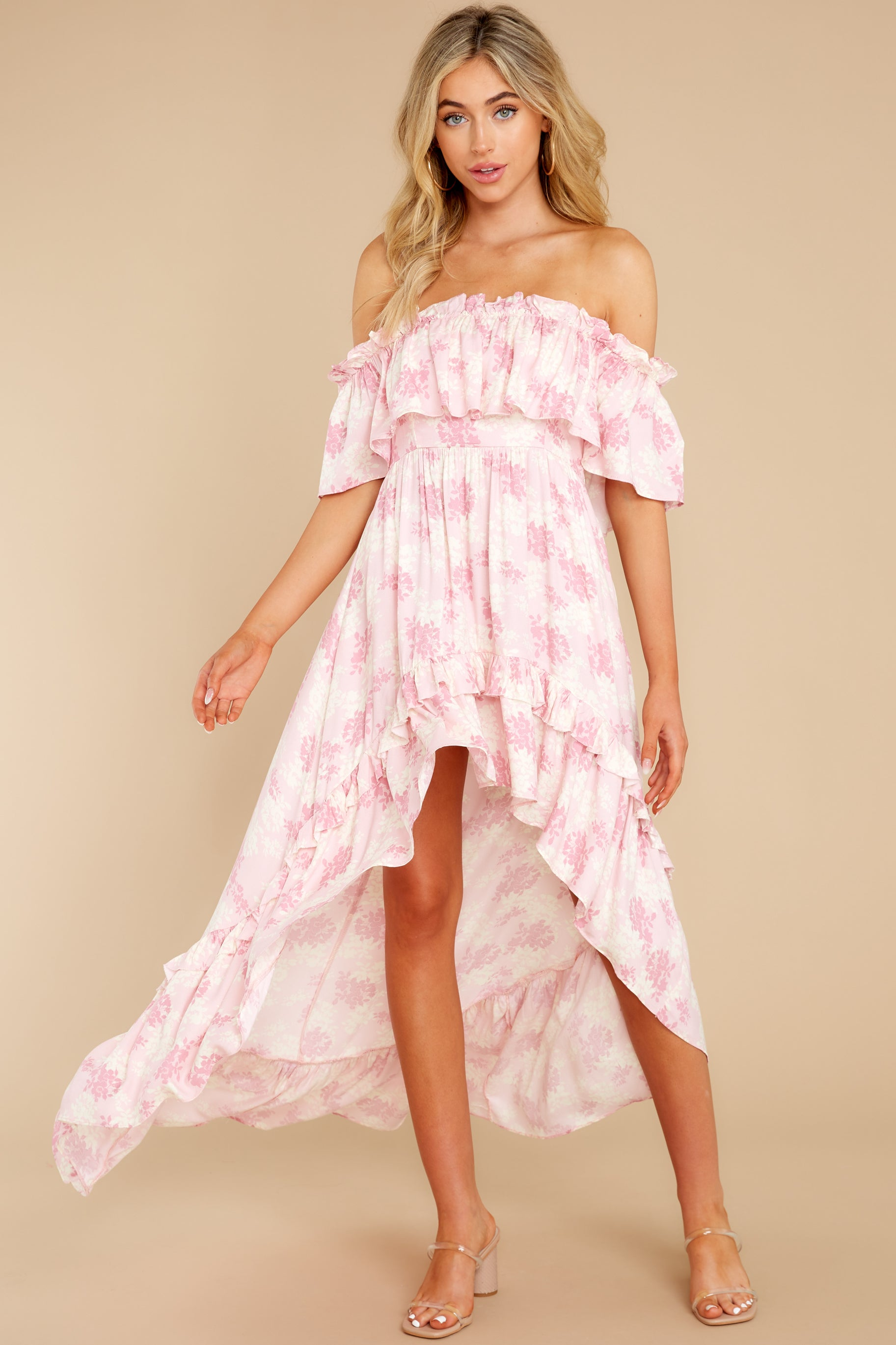2 Instant Romance Pink Multi Print High-Low Dress at reddress.com