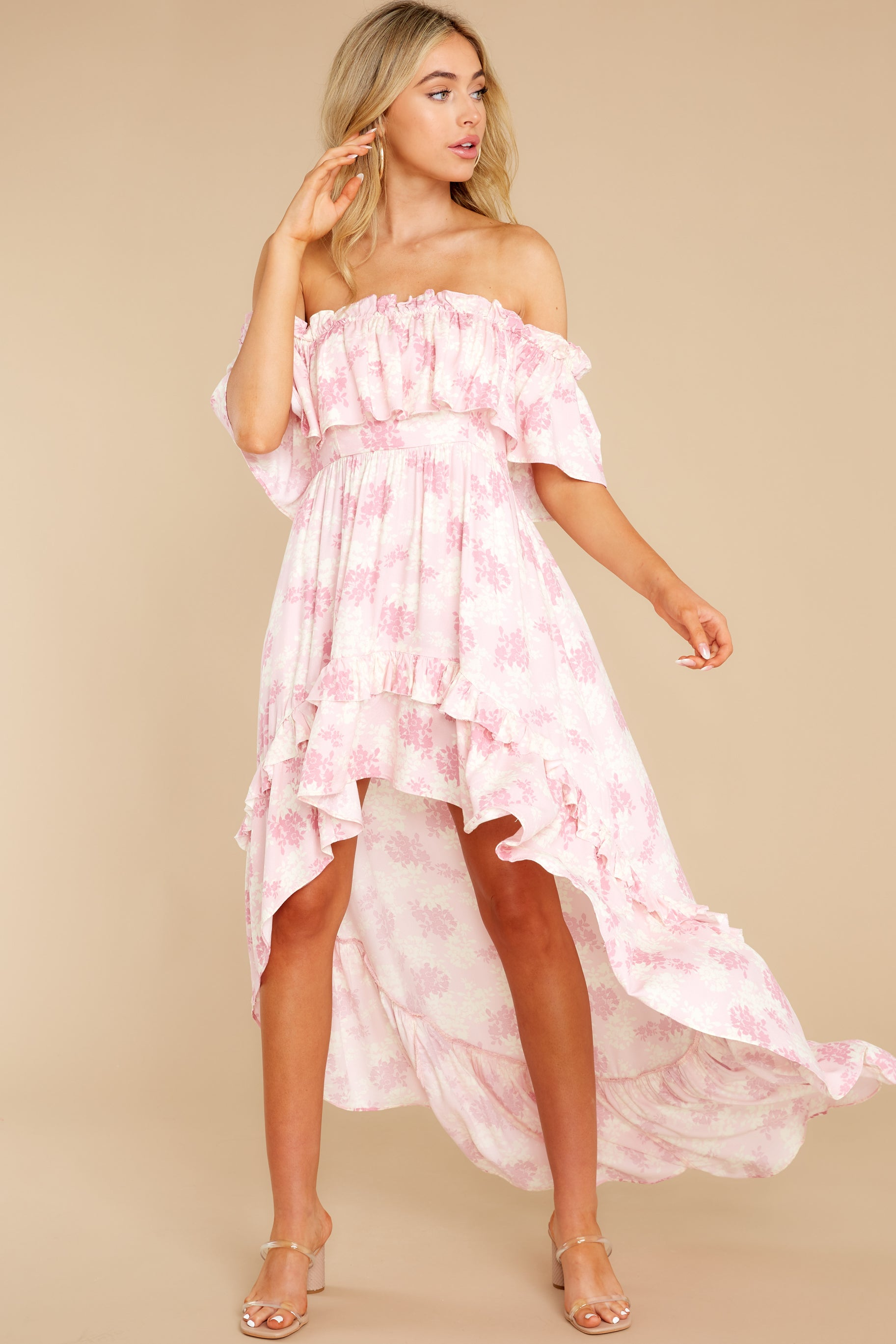 5 Instant Romance Pink Multi Print High-Low Dress at reddress.com
