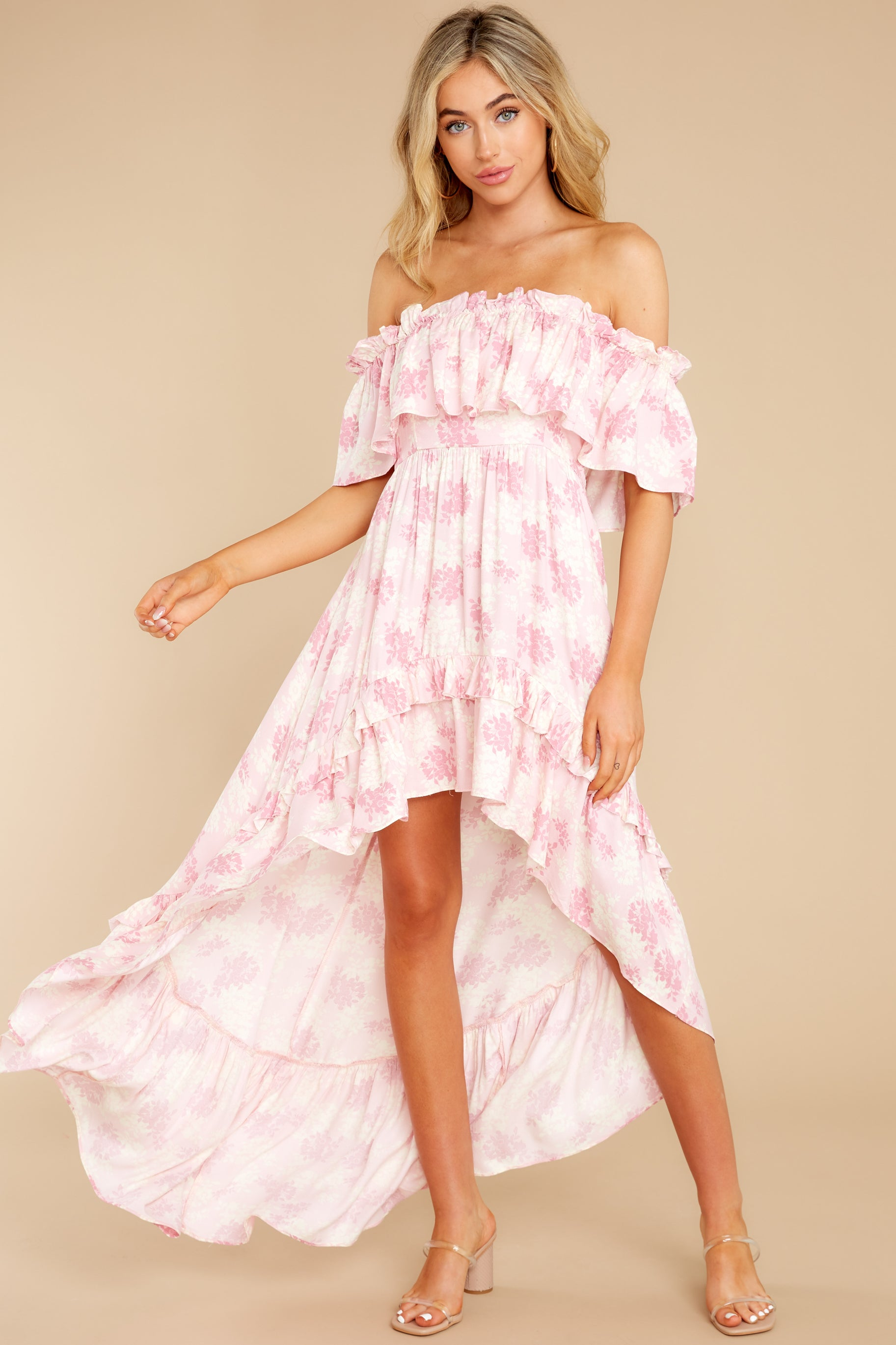 6 Instant Romance Pink Multi Print High-Low Dress at reddress.com