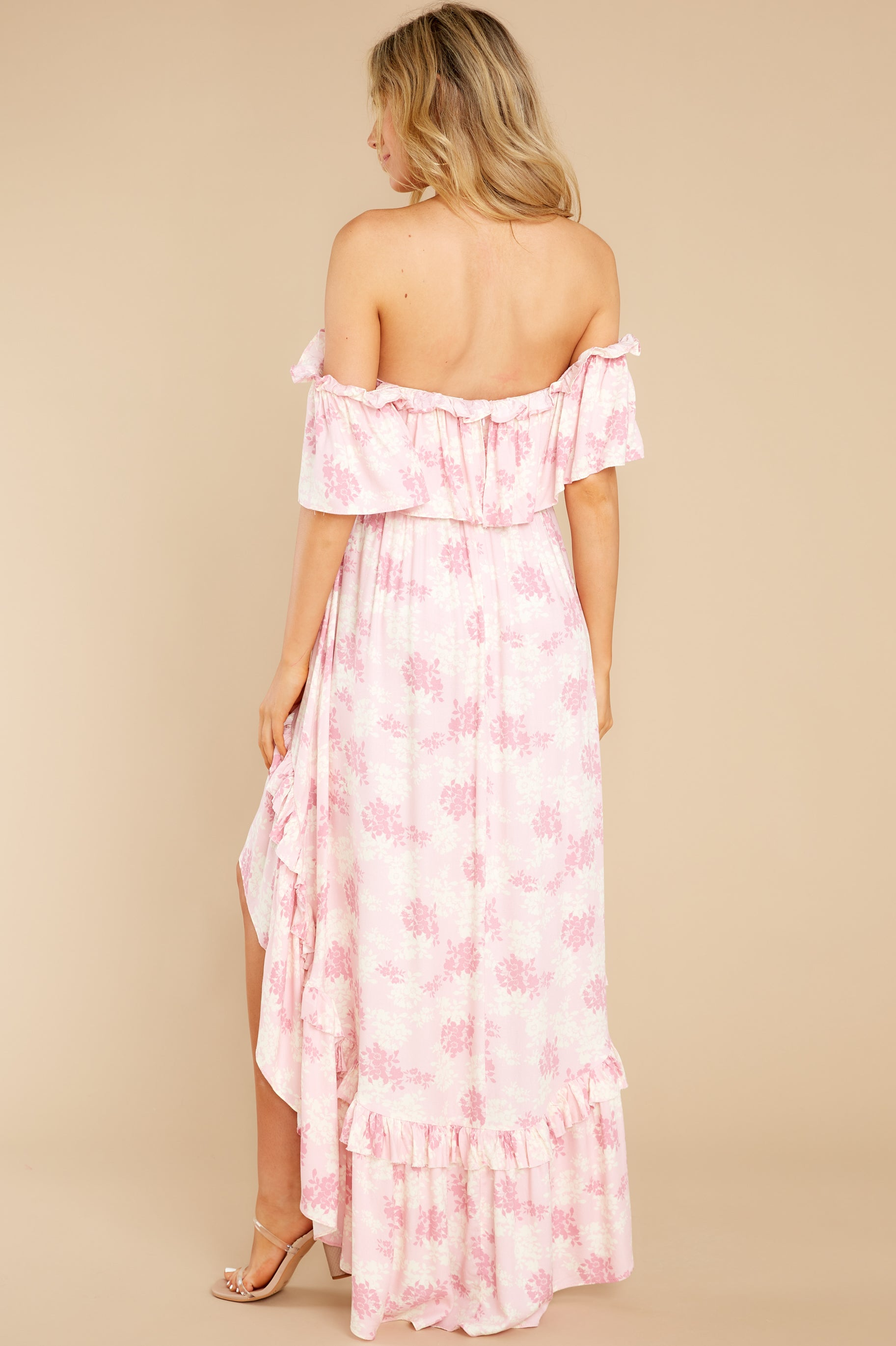7 Instant Romance Pink Multi Print High-Low Dress at reddress.com