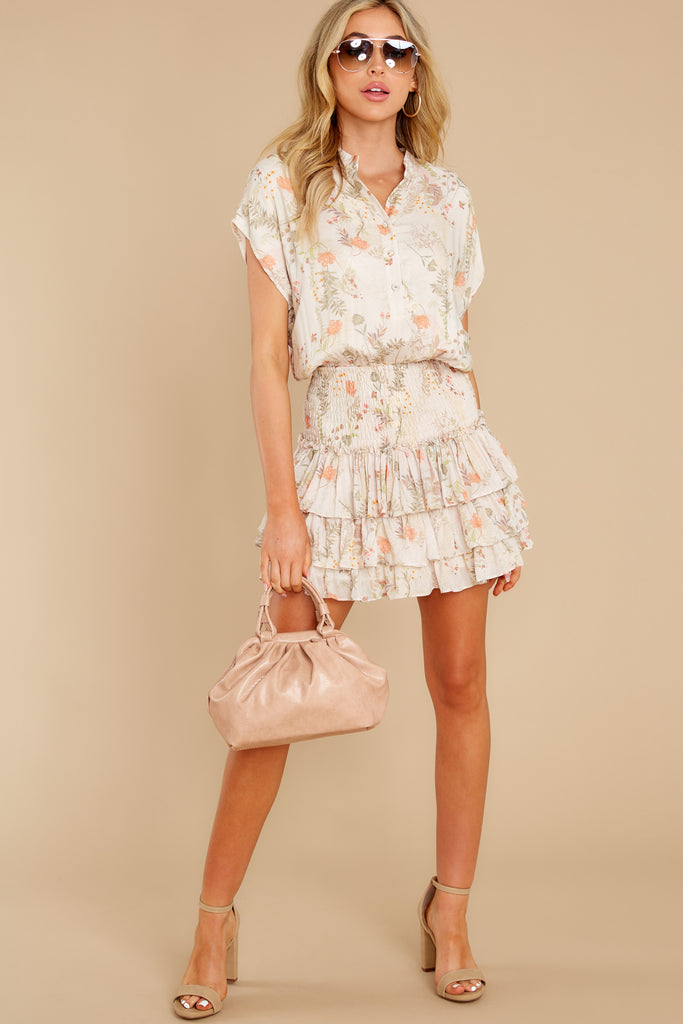1 Hearts Race Taupe Floral Print Dress at reddress.com