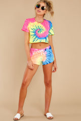 5 Summer Of '69 Neon Multi Tie Dye Shorts at reddress.com