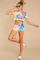 4 Summer Of '69 Neon Multi Tie Dye Shorts at reddress.com