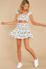 4 Keep Them Guessing Ivory Floral Skirt at reddress.com