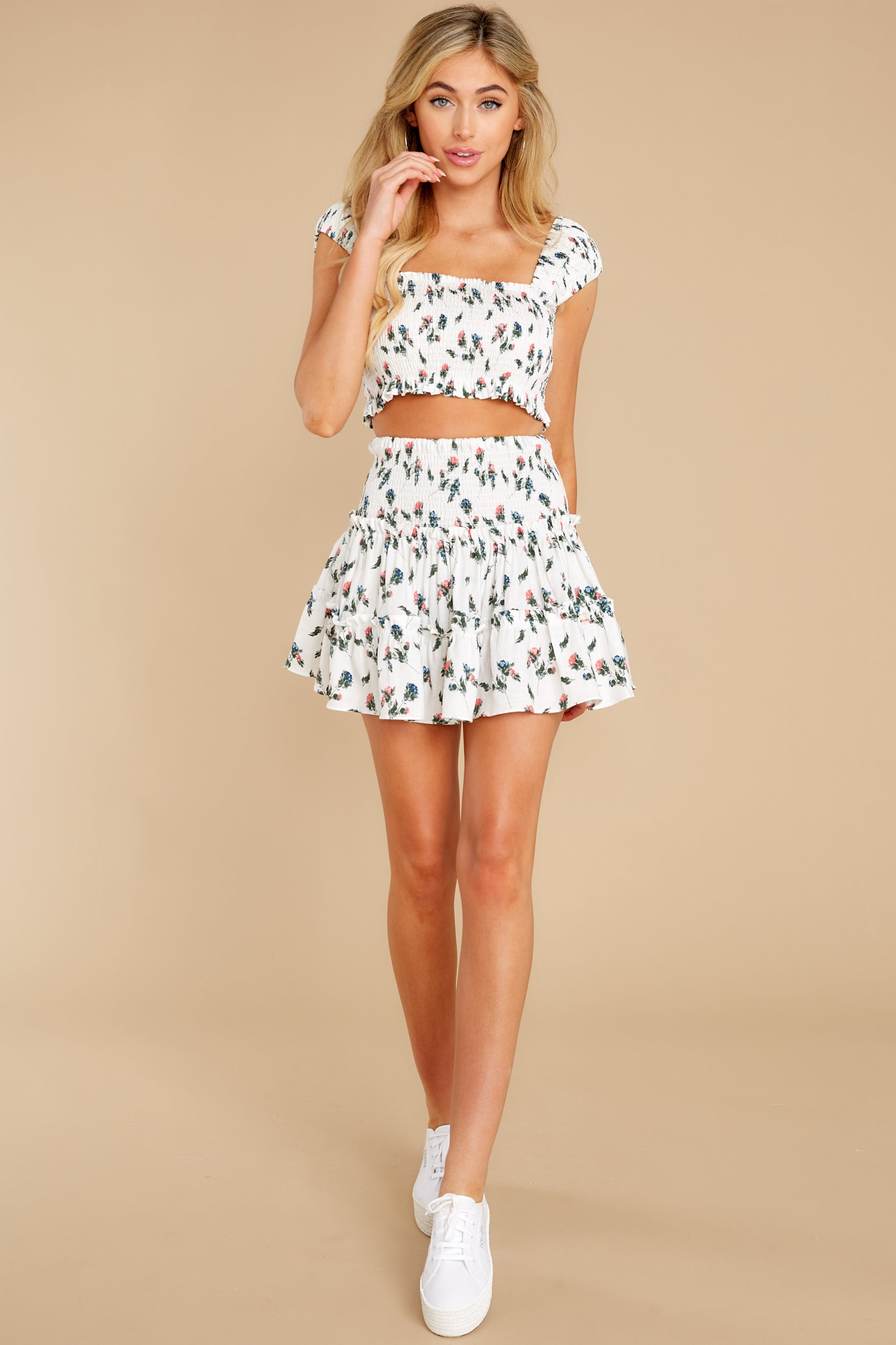 5 Keep Them Guessing Ivory Floral Skirt at reddress.com