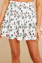 1 Keep Them Guessing Ivory Floral Skirt at reddress.com