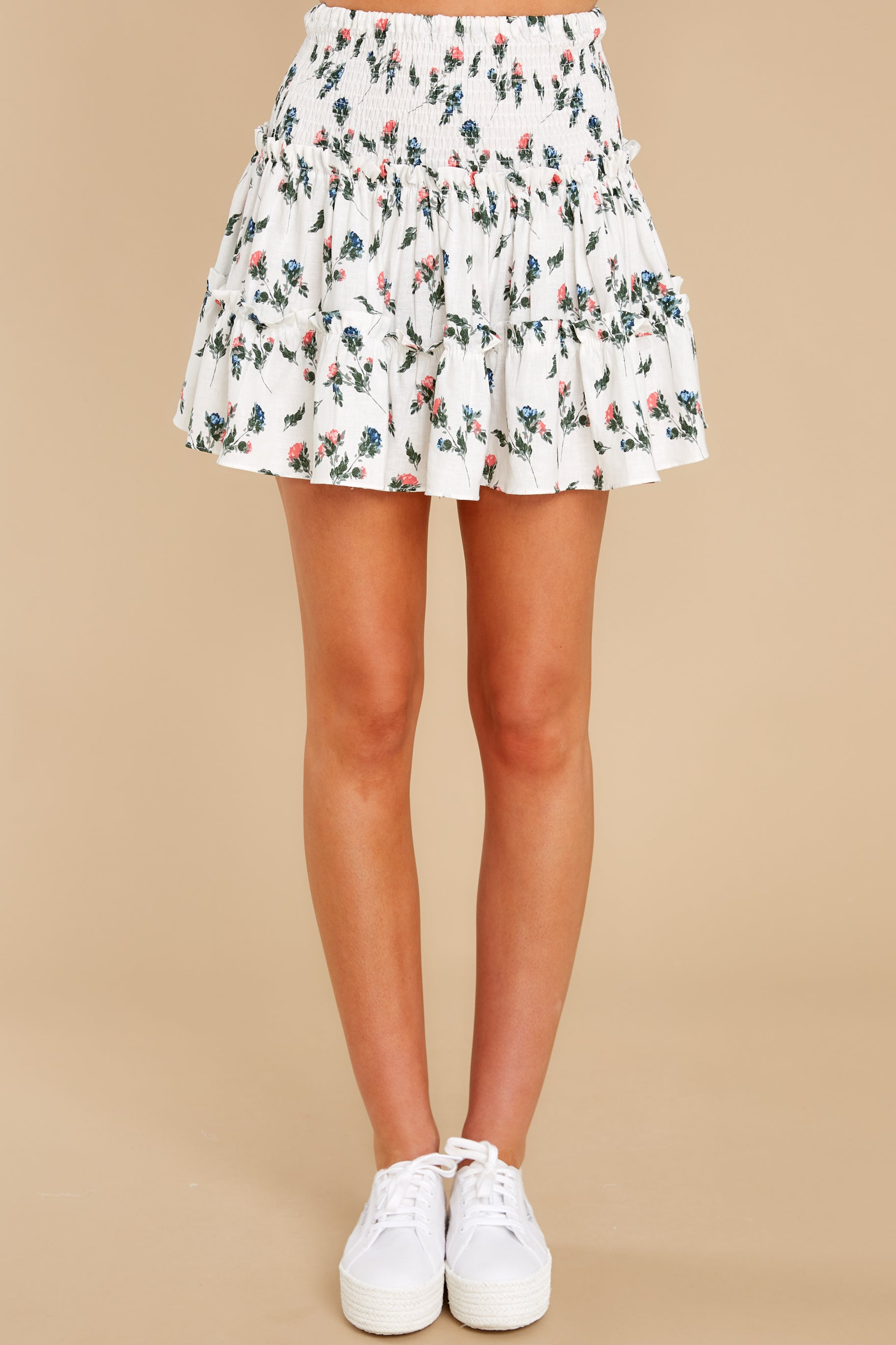 2 Keep Them Guessing Ivory Floral Skirt at reddress.com