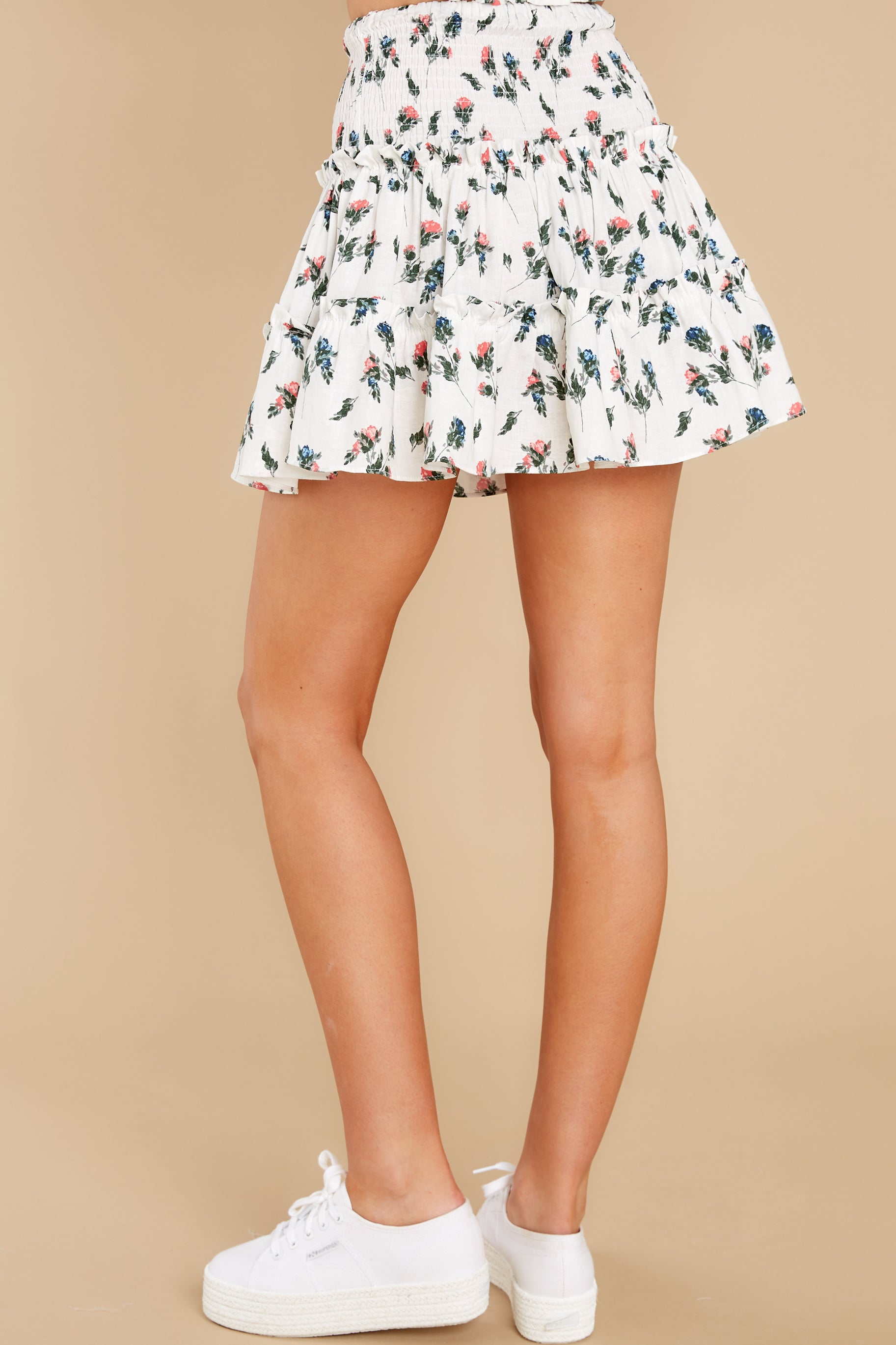 3 Keep Them Guessing Ivory Floral Skirt at reddress.com