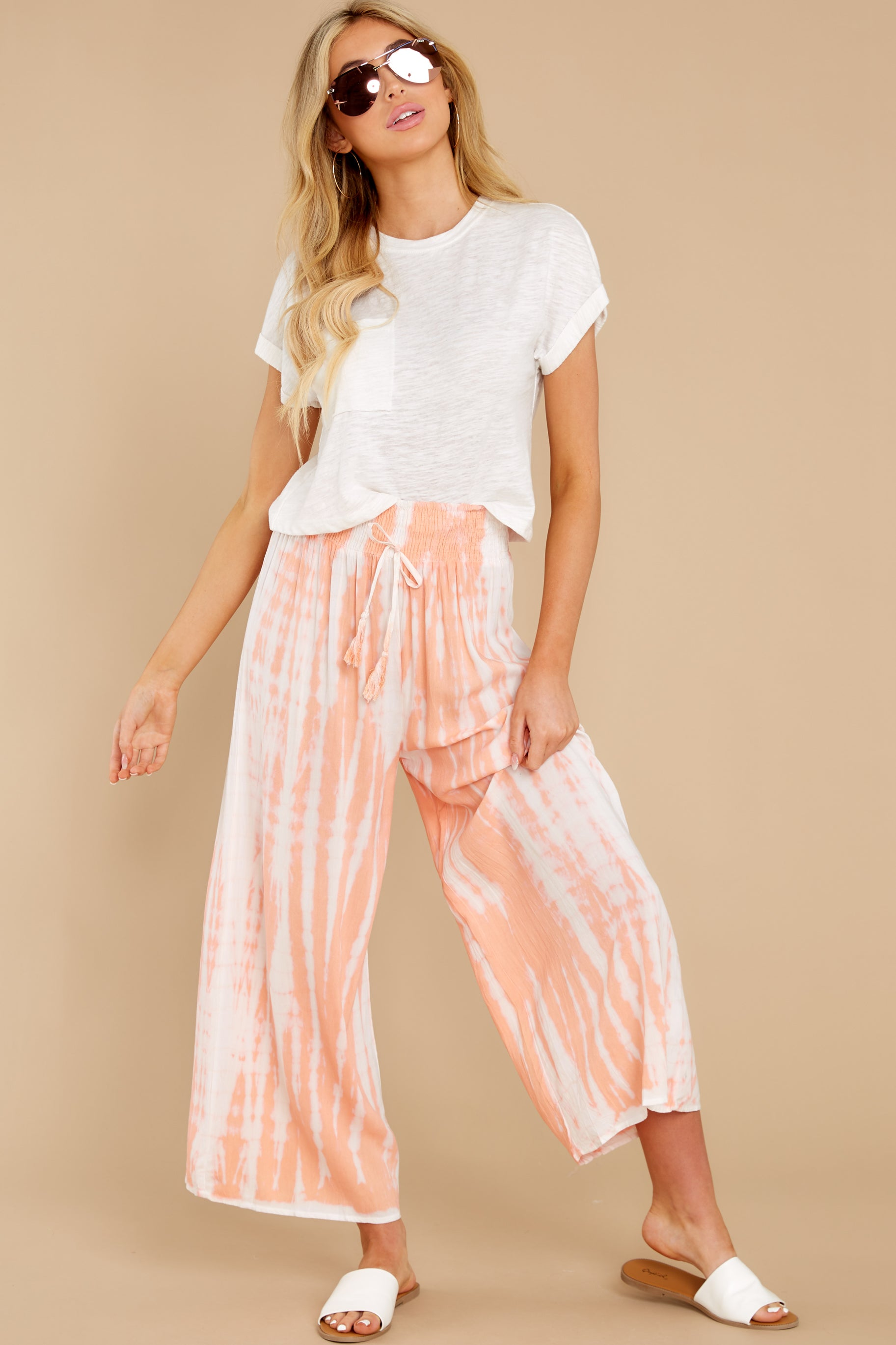 5 All Your Own Peach Tie Dye Pants at reddress.com