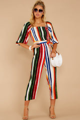2 Come To Cabo Orange Rainbow Stripe Jumpsuit at reddressboutique.com